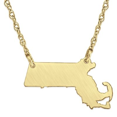 Alison & Ivy® 14K Gold-Plated Sterling Silver 18-Inch Massachusetts State Pendant Necklace