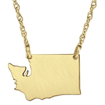 14K Gold-Plated Sterling Silver 18-Inch Chain Washington State Pendant Necklace