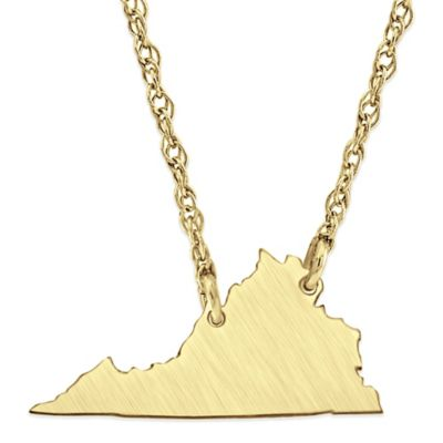 Alison & Ivy® 14K Gold-Plated Sterling Silver 18-Inch Chain Virginia State Pendant Necklace