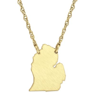 14K Gold-Plated Sterling Silver 18-Inch Chain Michigan State Pendant Necklace