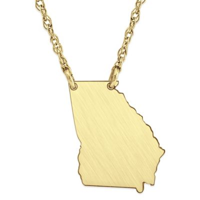 Alison & Ivy® 14K Gold-Plated Sterling Silver 18-Inch Chain Georgia State Pendant Necklace