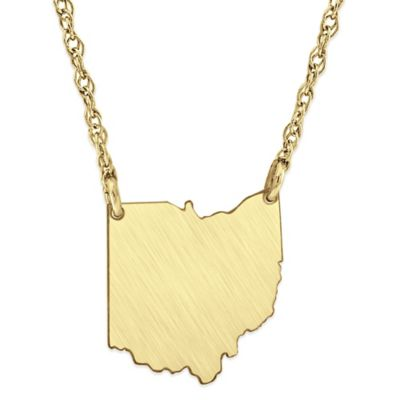 14K Gold-Plated Sterling Silver 18-Inch Chain Ohio State Pendant Necklace