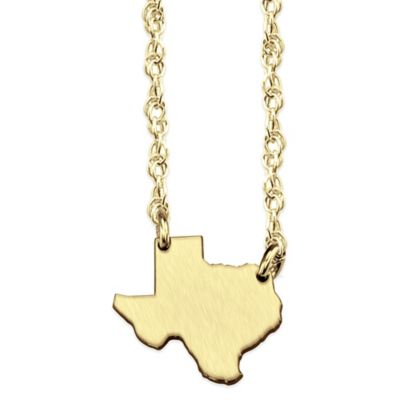 14K Gold-Plated Sterling Silver 18-Inch Chain Texas State Pendant Necklace
