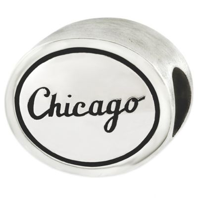 Sterling Silver MLB Chicago White Sox Antiqued Bead