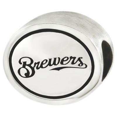 Sterling Silver MLB Milwaukee Brewers Antiqued Bead