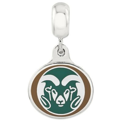 Sterling Silver Collegiate Colorado State University Ram Enameled Dangle Charm Bead