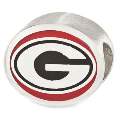 Sterling Silver Collegiate University of Georgia Enameled Charm Bead