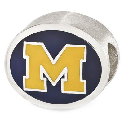 Sterling Silver Collegiate University of Michigan Navy Enameled Charm Bead