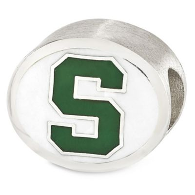 Sterling Silver Collegiate Michigan State University Spartans Enameled Charm Bead