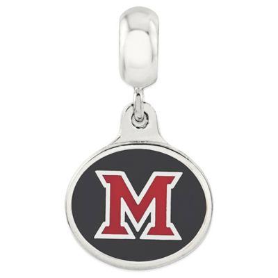 Sterling Silver Collegiate Miami University of Ohio Enameled Dangle Charm Bead