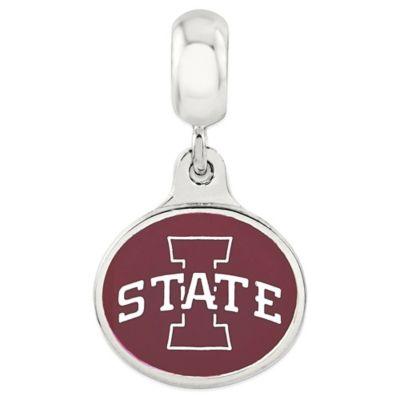 Sterling Silver Collegiate Iowa State University Enameled Dangle Charm Bead