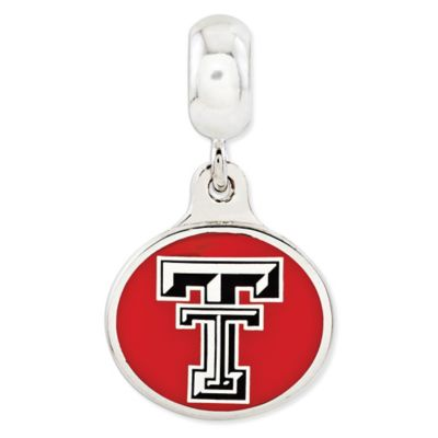 Sterling Silver Collegiate Texas Tech University Enameled Dangle Charm Bead