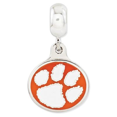 Sterling Silver Collegiate Clemson University Tigers Enameled Dangle Charm Bead