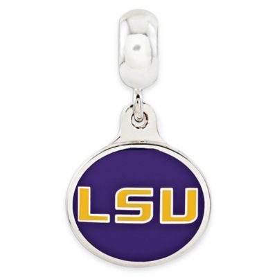Sterling Silver Collegiate Louisiana State University Enameled Dangle Charm Bead