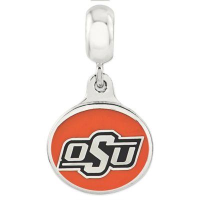 Sterling Silver Collegiate Oklahoma State University Enameled Dangle Charm Bead