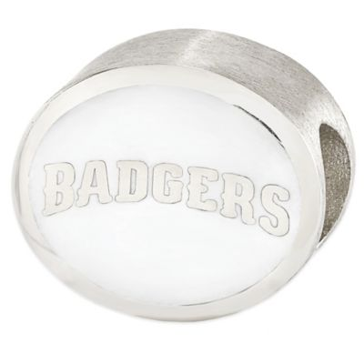 Sterling Silver Collegiate University of Wisconsin Badgers White Enameled Charm Bead