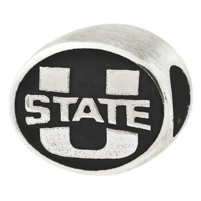 Sterling Silver Collegiate Utah State University Antiqued Charm Bead