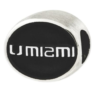Sterling Silver Collegiate University of Miami Black Enameled Charm Bead
