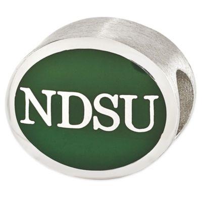 Sterling Silver Collegiate North Dakota State University Green Enameled Charm Bead