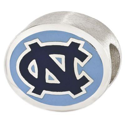 Sterling Silver Collegiate University of North Carolina Blue Enameled Charm Bead