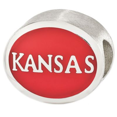 Sterling Silver Collegiate University of Kansas Red Enameled Charm Bead