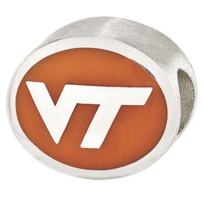 Sterling Silver Collegiate Virginia Tech Orange Enameled Charm Bead