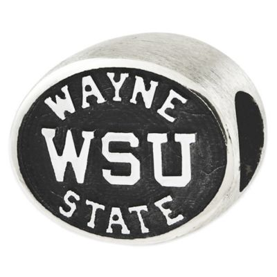 Sterling Silver Collegiate Wayne State University Antiqued Charm Bead