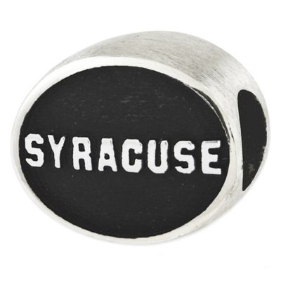 Sterling Silver Collegiate Syracuse University Antiqued Charm Bead