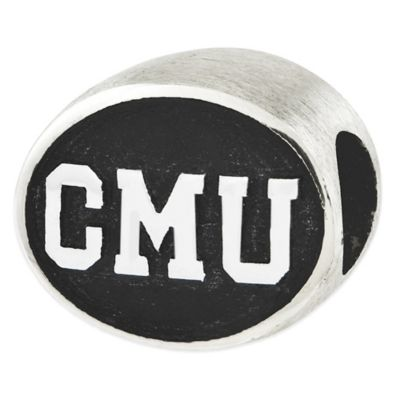 Sterling Silver Collegiate Central Michigan University Antiqued Charm Bead
