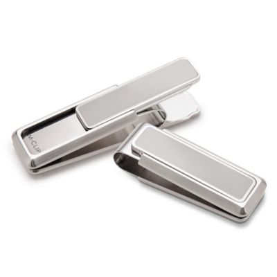 M-Clip Brushed Stainless Steel with Polished Border Heat Tempered Spring Money Clip
