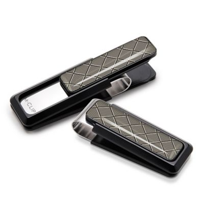 M-Clip Ultralight Black Aluminum Money Clip in Silver Herringbone