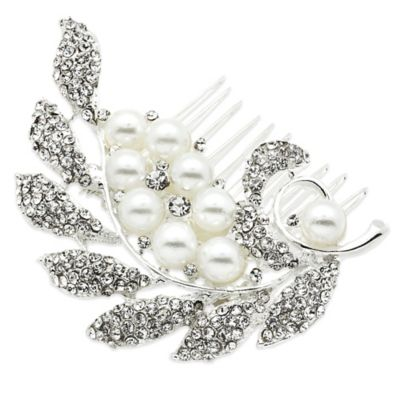 Amy O. Bridal Crystal Pearl Leaf Hair Comb