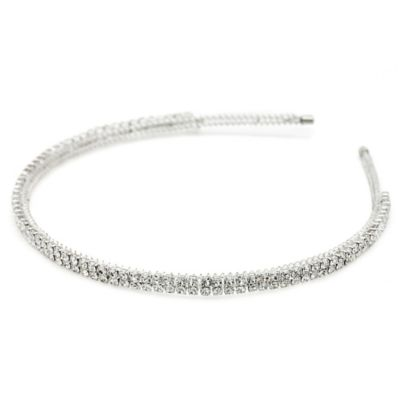 Amy O. Bridal Classic Crystal Two-Line Headband