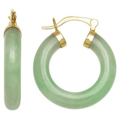 14K Yellow Gold 25mm Created Jadeite Hoop Earrings