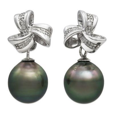 Sterling Silver Tahitian Black Freshwater Pearl Love Knot Earrings