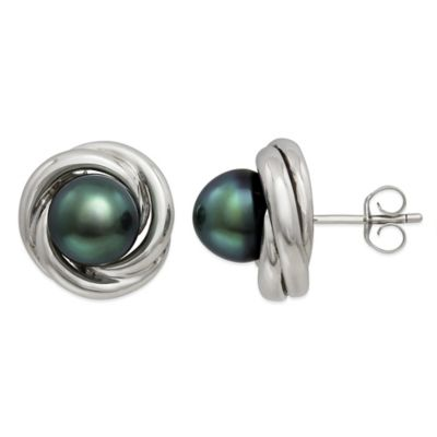 Sterling Silver Tahitian Black Freshwater Pearl Love Knot Earrings