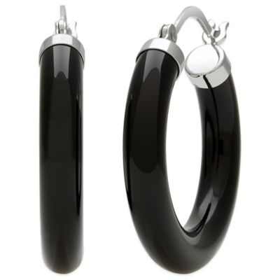 Sterling Silver 30mm Onyx Hoop Earrings