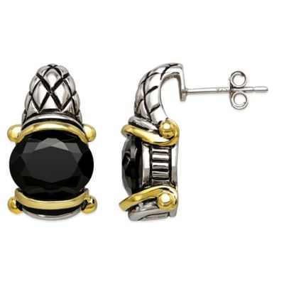 Sterling Silver and Gold Onyx Oval Drop Stud Earrings