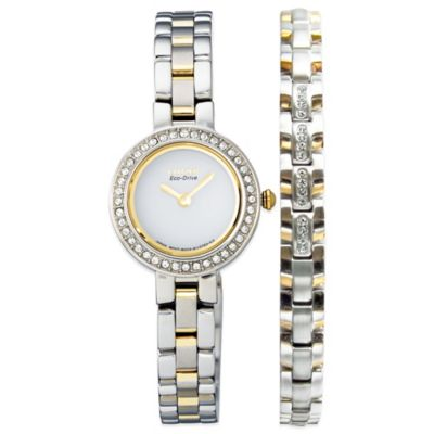 Citizen Eco-Drive Ladies' Watch/Bracelet Set in Two-Tone Stainless Steel with Swarovski® Accent