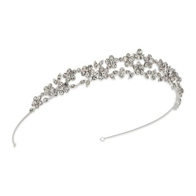 Petite Floral Bridal Crown in Silvertone