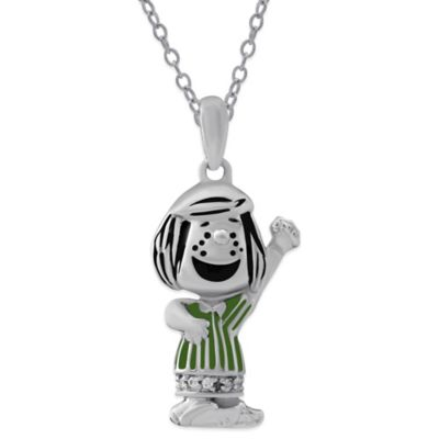 Peanuts™ Sterling Silver .03 cttw Diamond 18-Inch Chain Peppermint Patty Pendant Necklace