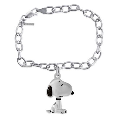 Peanuts™ Sterling Silver .03 cttw Black Diamond 7-Inch Snoopy Charm Bracelet