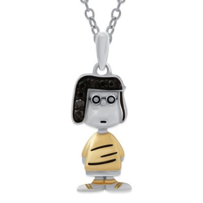Peanuts™ Sterling Silver .06 cttw Black Diamond 18-Inch Chain Marci Pendant Necklace