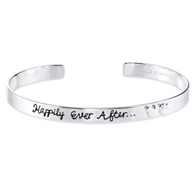 "Disney® Mickey and Minnie Sterling Silver ""Happily Ever After"" Cuff Bracelet"