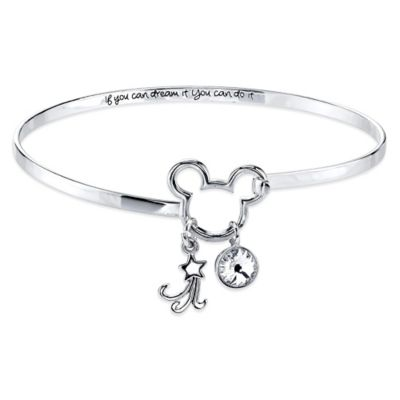 "Disney® Silvertone Mickey Mouse ""If You Can Dream It You Can Do It"" Bangle"
