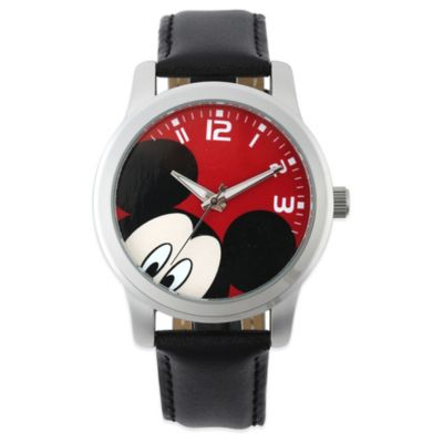 Disney® Mickey Mouse Men's 38mm Peek-A-Boo Red Dial Watch with Black Leather Strap