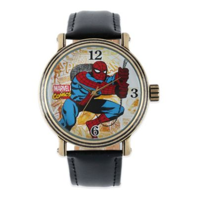 Marvel Men's 43mm Vintage Spider-Man White Dial Watch in Gold with Black Leather Strap