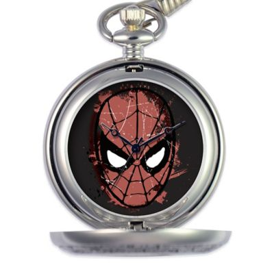 Marvel Men's 51mm Spider-Man Black Dial Pocket Watch in Silver