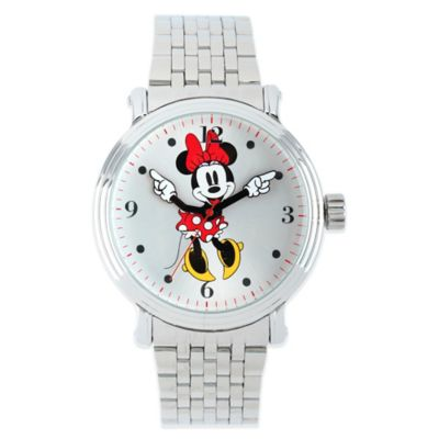 Disney® Minnie Mouse Ladies' 43mm Dancing White Dial Watch in Silver