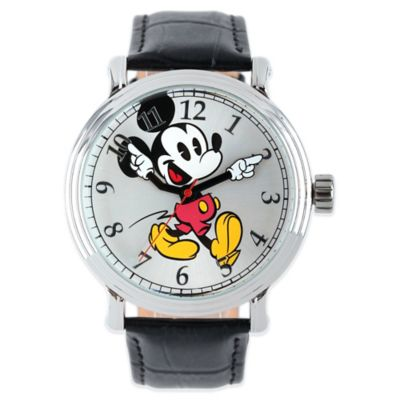 Disney® Mickey Mouse Men's 43mm Dancing Arms Silver Dial Watch with Black Leather Strap